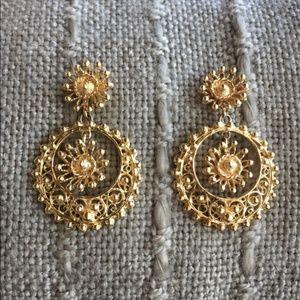 RARE 14k HEAVY 20 Gram Etrsucan Dangle Earrings